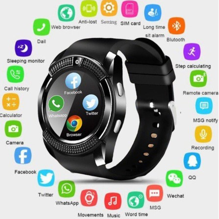 【Ready Stock】 V8 Bluetooth smart watch ip67 touch screen Android waterproof sports smart watch with camera sim card