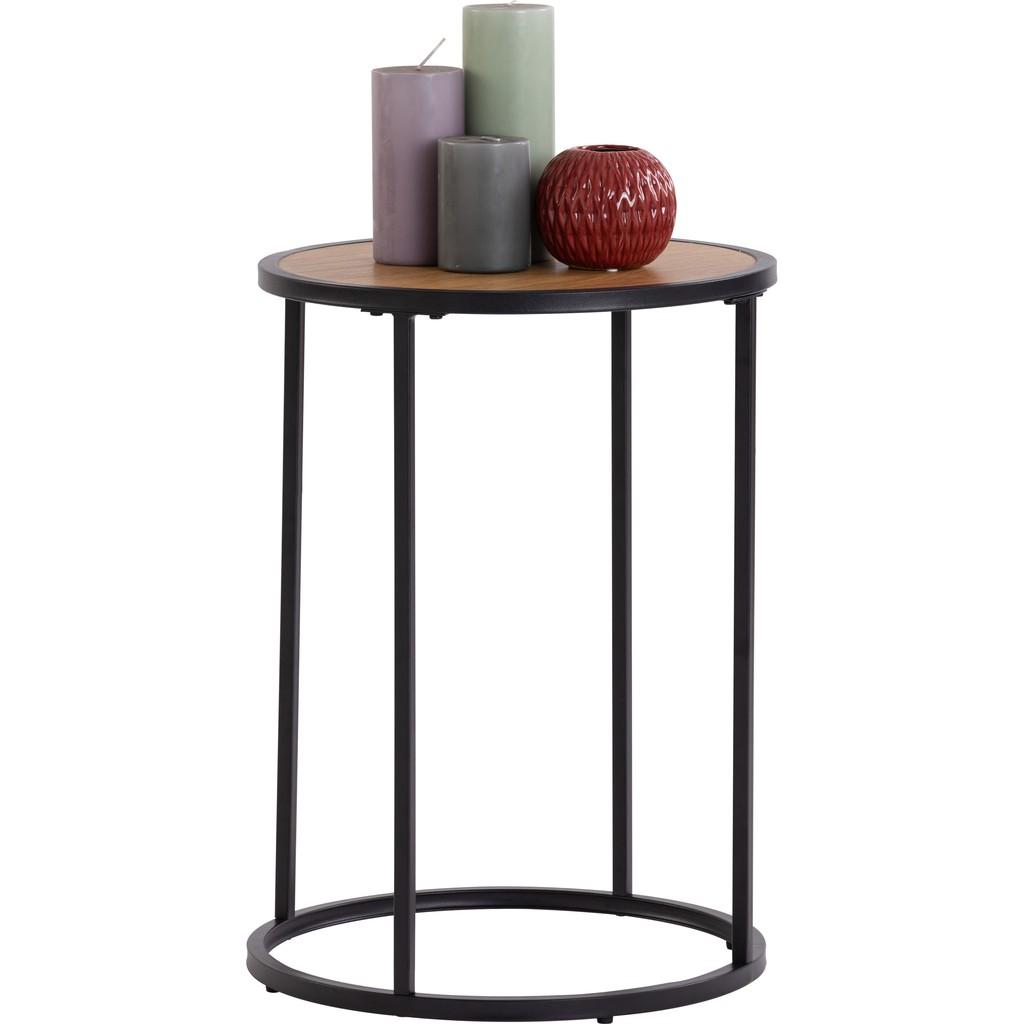 Bradford Industrial metal frame nesting table with oak veneer table top