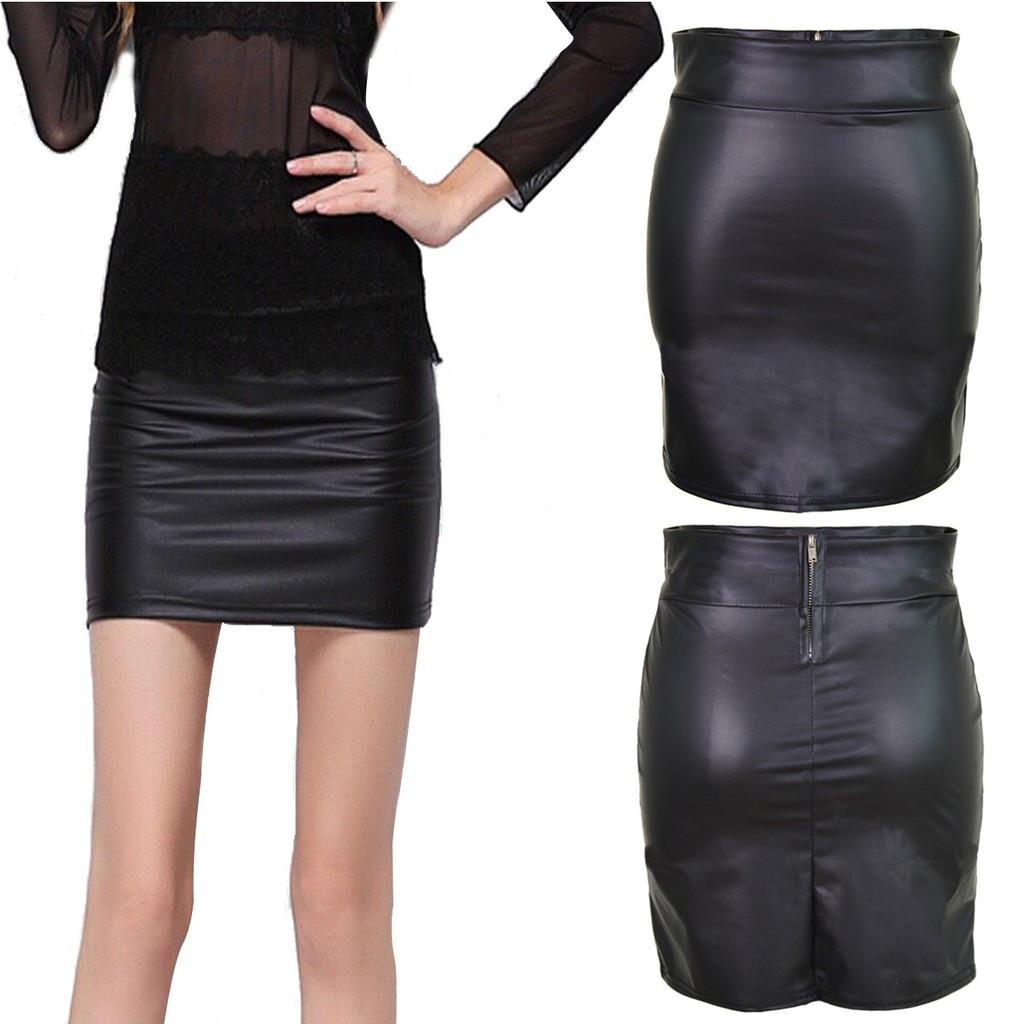 classic shoes elegant and sturdy package exclusive shoes Womens Faux Leather Pencil Skirt Slim Fit Stretch High Waist Midi Bodycon  Skirts