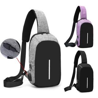 Men Anti-Theft Backpack USB Charging Port Travel Sling Bag Crossbody Chest Pack