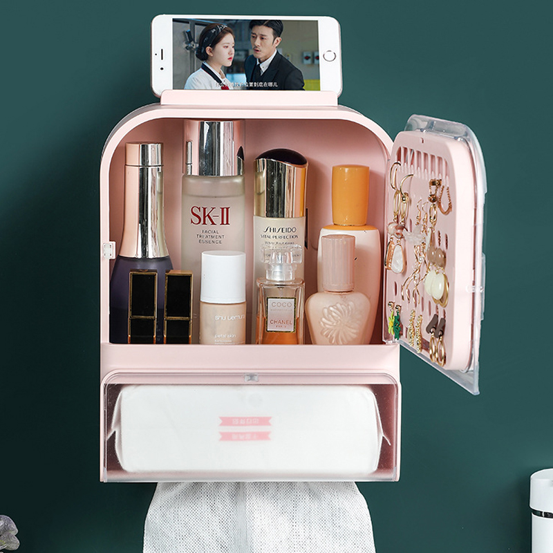 GDeal Dust Proof Wall Mounted Bathroom Jewelry Skincare Cosmetic Storage Box With Mirror