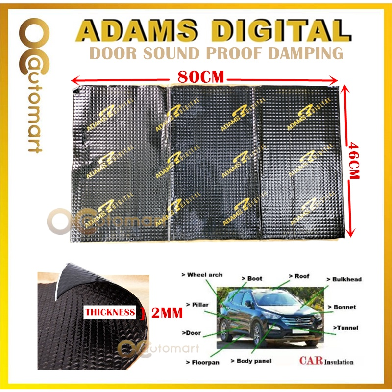 (1PC) Adams Digital Sound Proof Damping / Sponge Sound Proofing Insulation for Car Doors Panel or Car Engine Cover