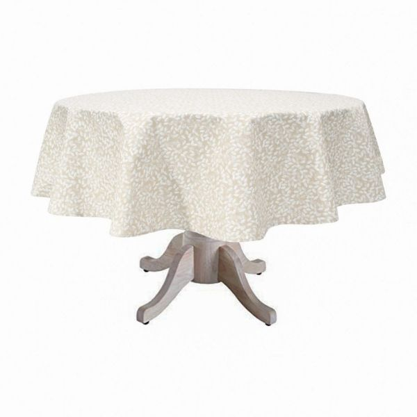 """Seed Coated Round Tablecloth. Anti Stain/Waterproof/Spill Proof .140cm/55"""" Diameter Round. (Ecru)"""