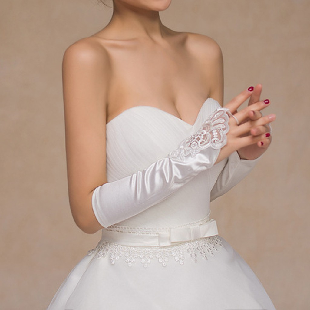 BRIDAL WEDDING  WHITE  ELBOW  Tulle  Lace  GLOVES  PROM PARTY  STOCK  FINGERLESS