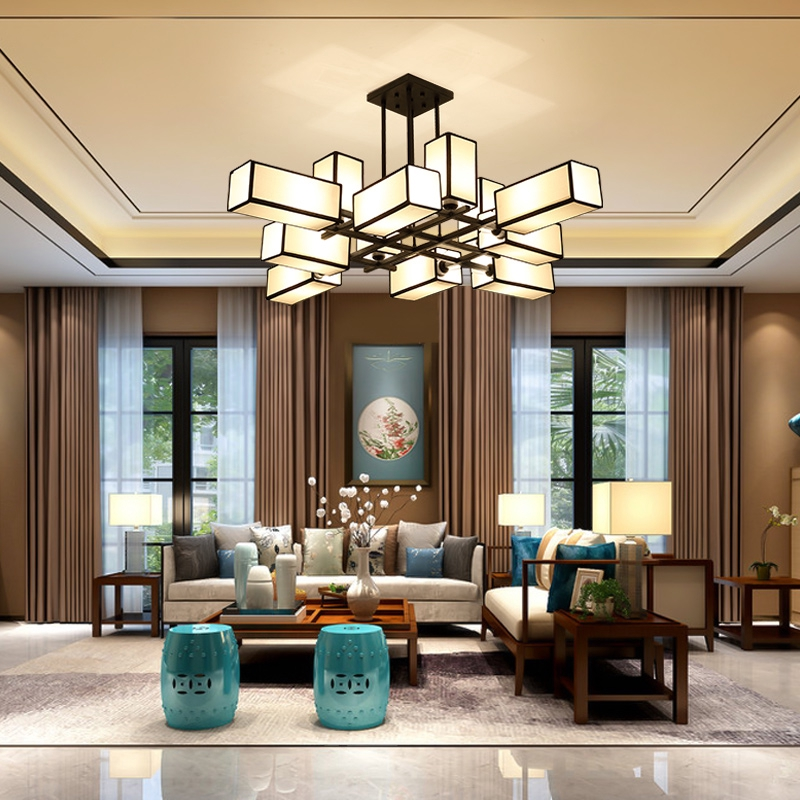 New Chinese chandelier living room lamp rectangular modern simple Zen lamp  2019 new creative personality Chinese style