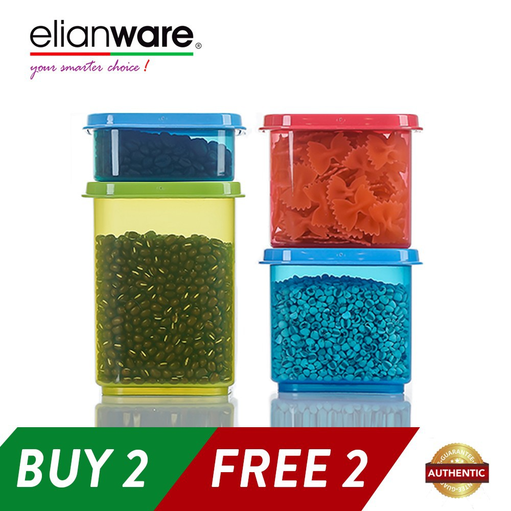 Elianware Stackable Plastic Food Containers Set (4 Pcs)