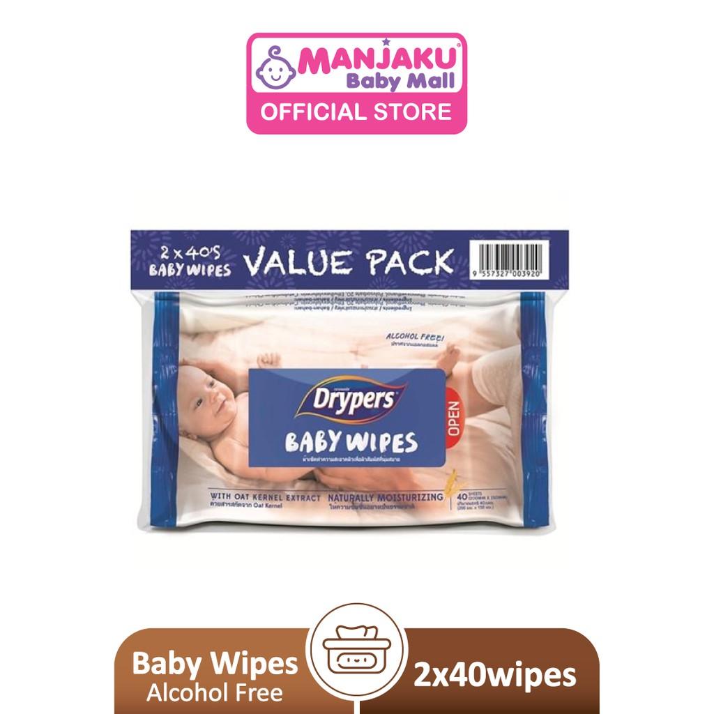 Drypers Baby Wipes (2 x 40's)