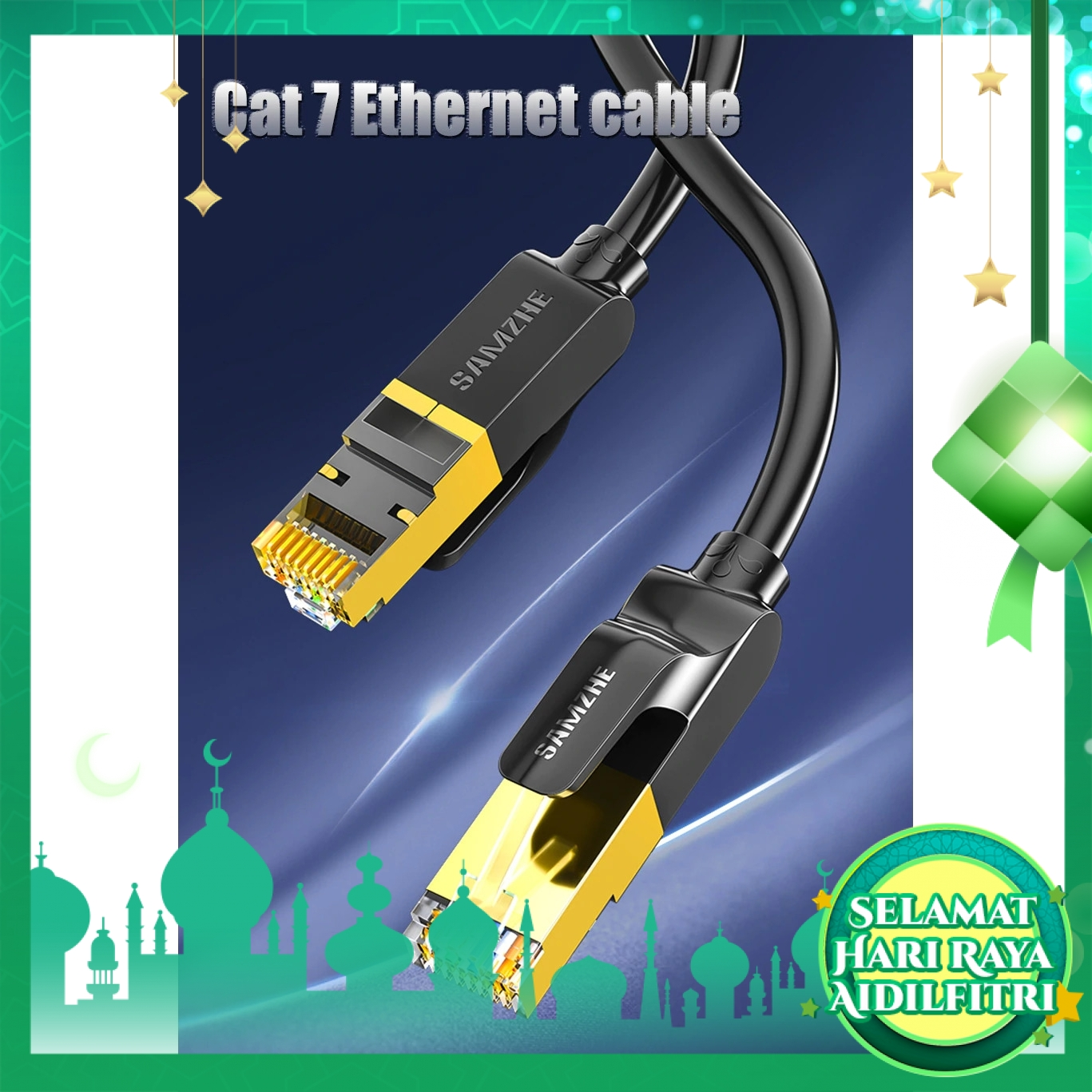 SAMZHE CAT-701C Cat7 SFTP Ethernet Patch LAN Cable 10Gbps SuperSpeed Transmission Standard RJ45 for PC Modem Router 1M