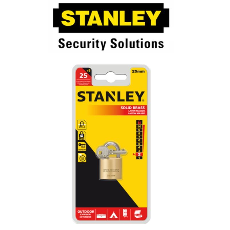 STANLEY S824-648 BRASS PADLOCKS STANDARD SHACKLE '25MM