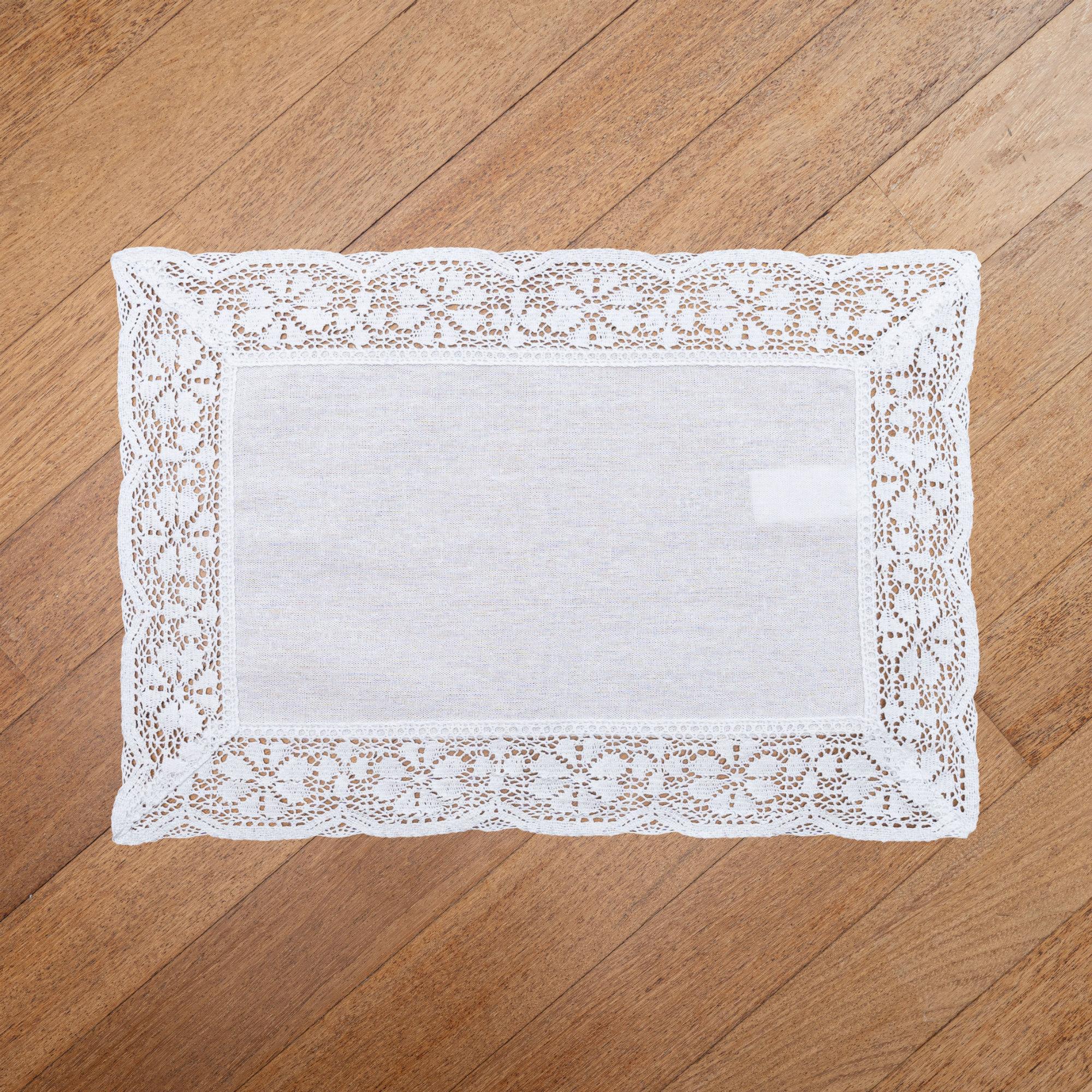 """Nostalgic White Rectangle Placemats/Table Mats With 6cm Cotton Crochet Lace Edges. 30x45cm/12x18"""" (White)"""