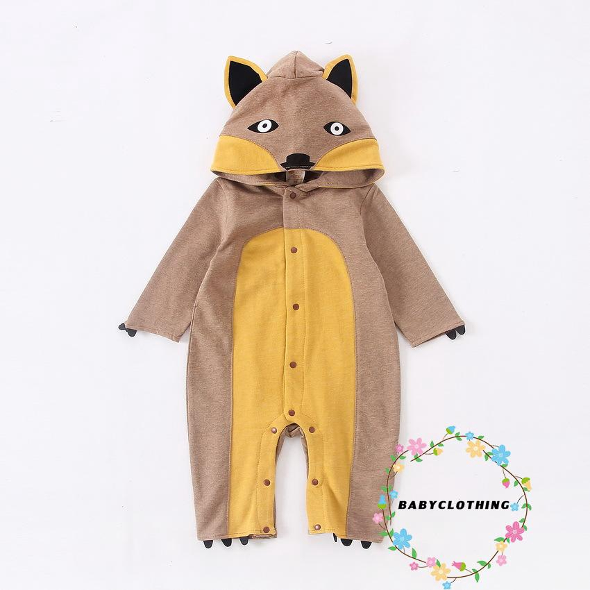 Newborn Baby Boy Girl Infant Fox Hooded Romper Jumpsuit Playsuit Clothes Outfits