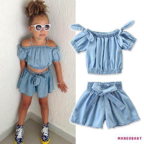 2PCS Summer Infant Baby Girl Off Shoulder Shirt Tops+Shorts Pants Outfit Clothes