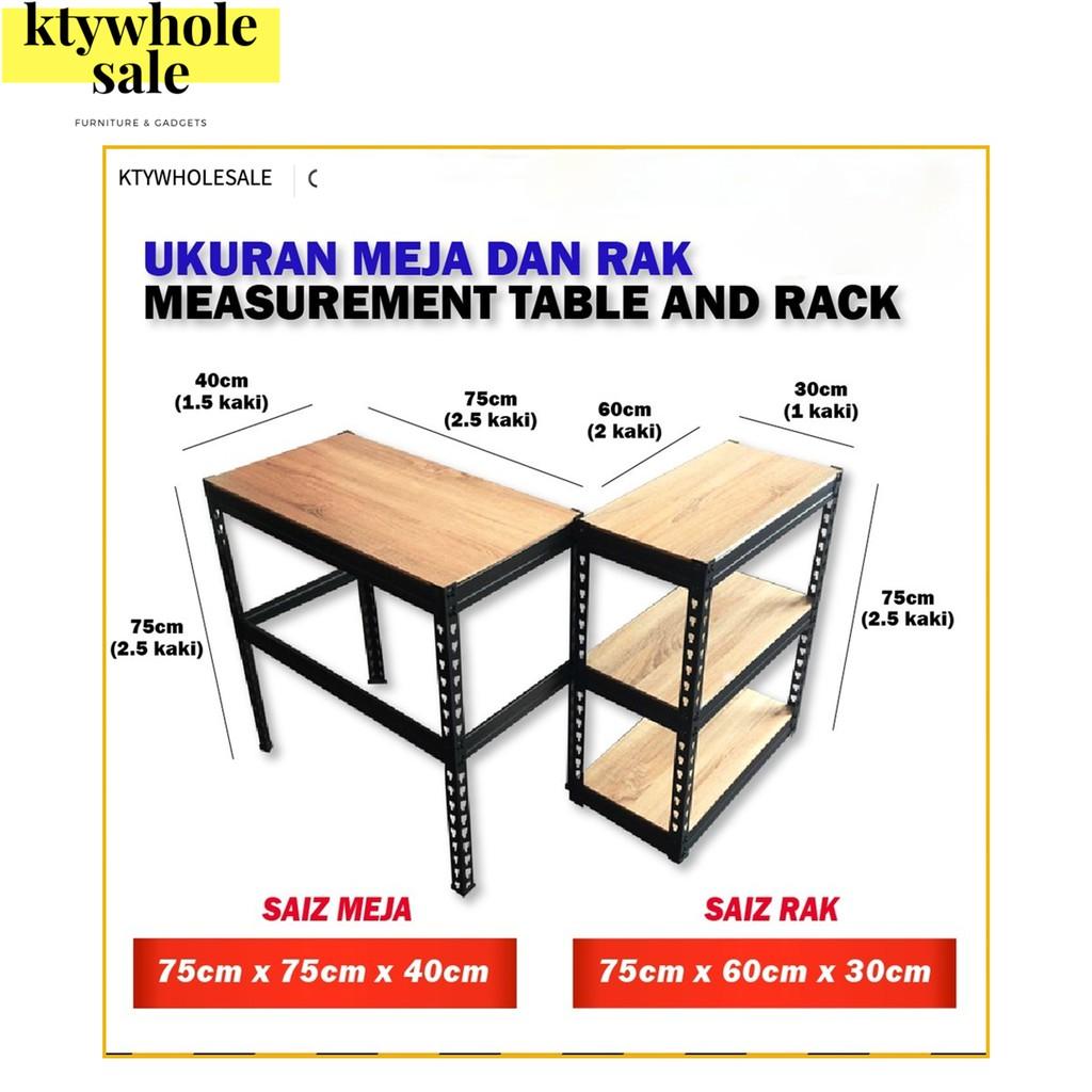 KTY 2 in 1steel rack 3 tier/rack meja/computer desk/office table/study table kids/meja study/rak besi/meja komputer