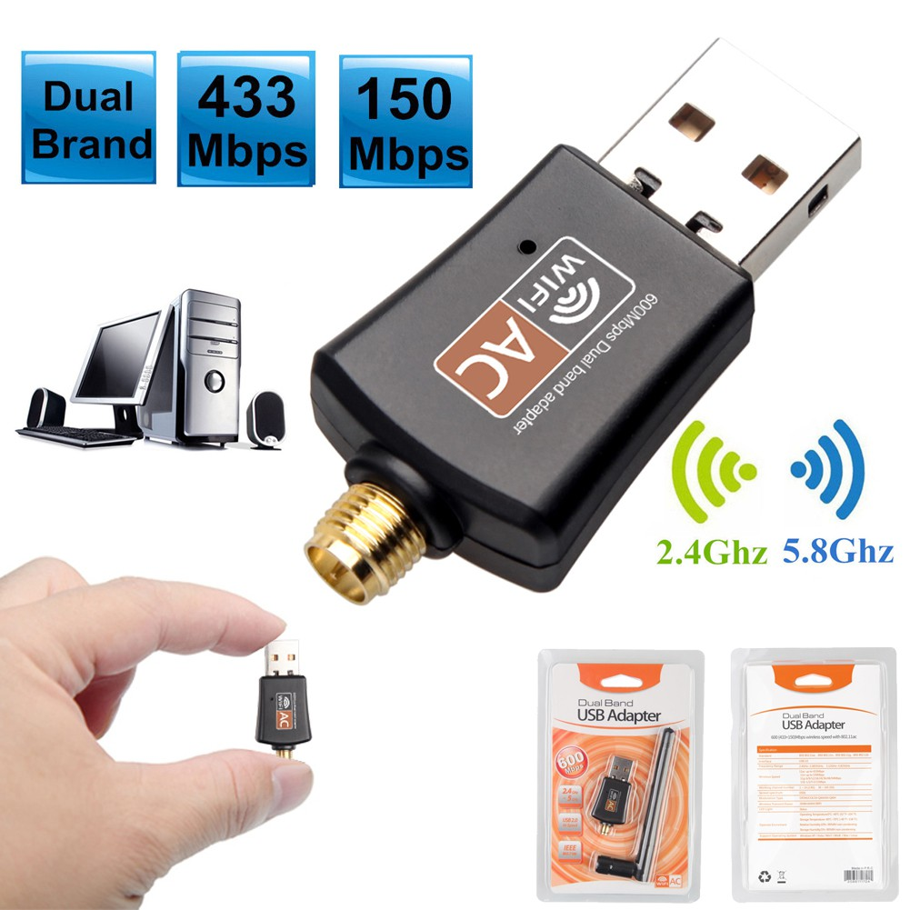 600Mbps Wireless Dual Band 2.4//5Ghz  WiFi Adapter Lan USB 802.11AC Network PC US