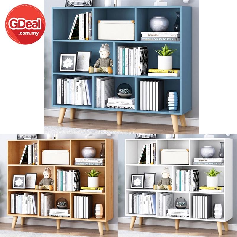 GDeal Simple Modern Solid Wood Bookshelf Storage Rack Multi-Layer Bookcase Cabinet Rak Buku رق بوكو (G10)