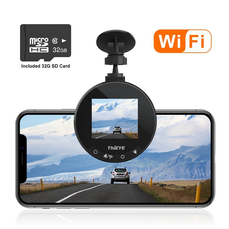 Mini Car DVR Dashboard Camera with 32GB SD Card 1.5 LCD Display THIEYE Car Dash Cam Wifi Full HD 1080P WDR Parking Monitor Super Night Vision G Sensor Motion Detection 170 Super Wide Angle