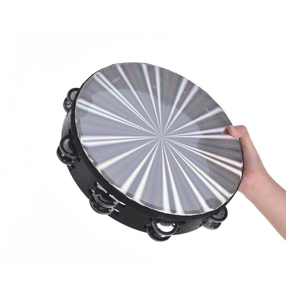 Wooden Radiant Tambourine Hand Drum with Double Row Jingles Reflective Drum Head Percussion Instrument Musical Toy