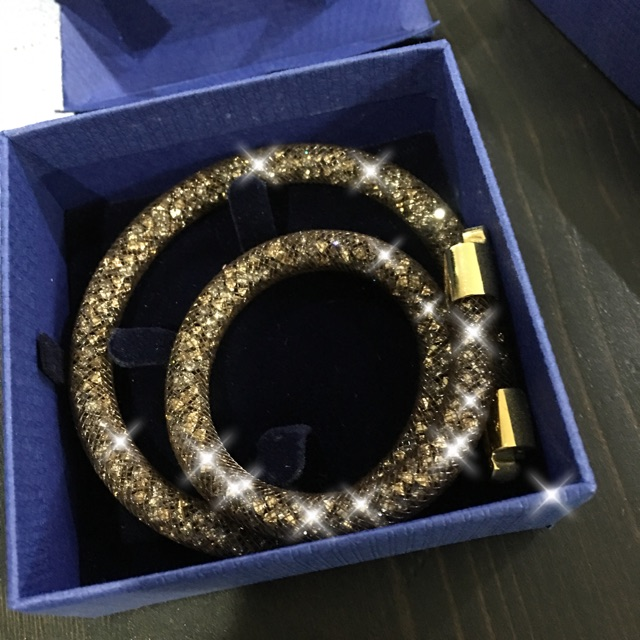 f39fa88a9297d Swarovski Stardust Double Bracelet in Brown 40cm