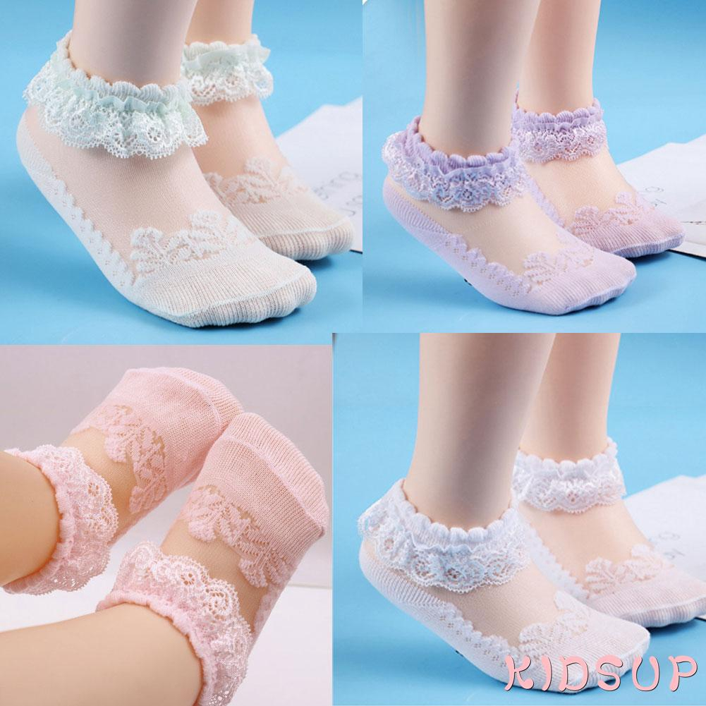 3Pairs//Pack Newborn Baby Girl Lace Frilly Bow Ankle Anti Slip Socks 0-3T Toddler