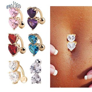 Gao Women Peach Hearts Body Piercing Belly Button Ring Dangle Drop Reverse Navel Bar