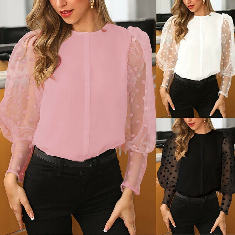 Women Slim Fit Blouse Party Knitted Pullover Puff Sleeve T-shirts Polka Dot Tops