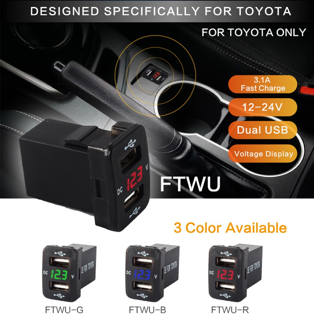 (IN stock )12V Dual USB Ports Car Charger Socket Voltmeter 4 2A Power For  Toyota