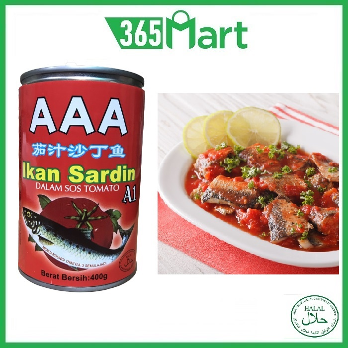 AAA Brand Sardines in Tomato Sauce HALAL 400g Ikan Sardin Dalam Sos Tomato by 365mart 365 Mart