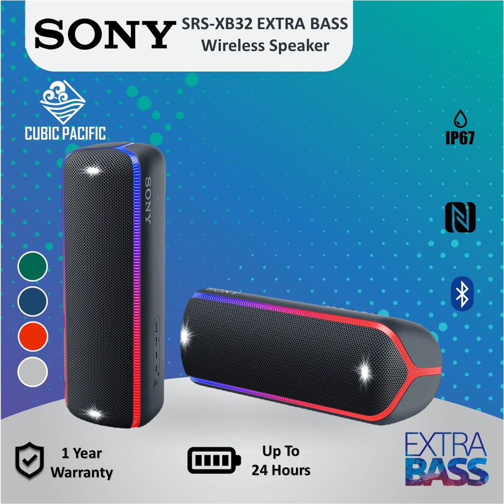 Sony SRS-XB32 / XB32 EXTRA BASS Portable Wireless Waterproof NFC Bluetooth  Speaker