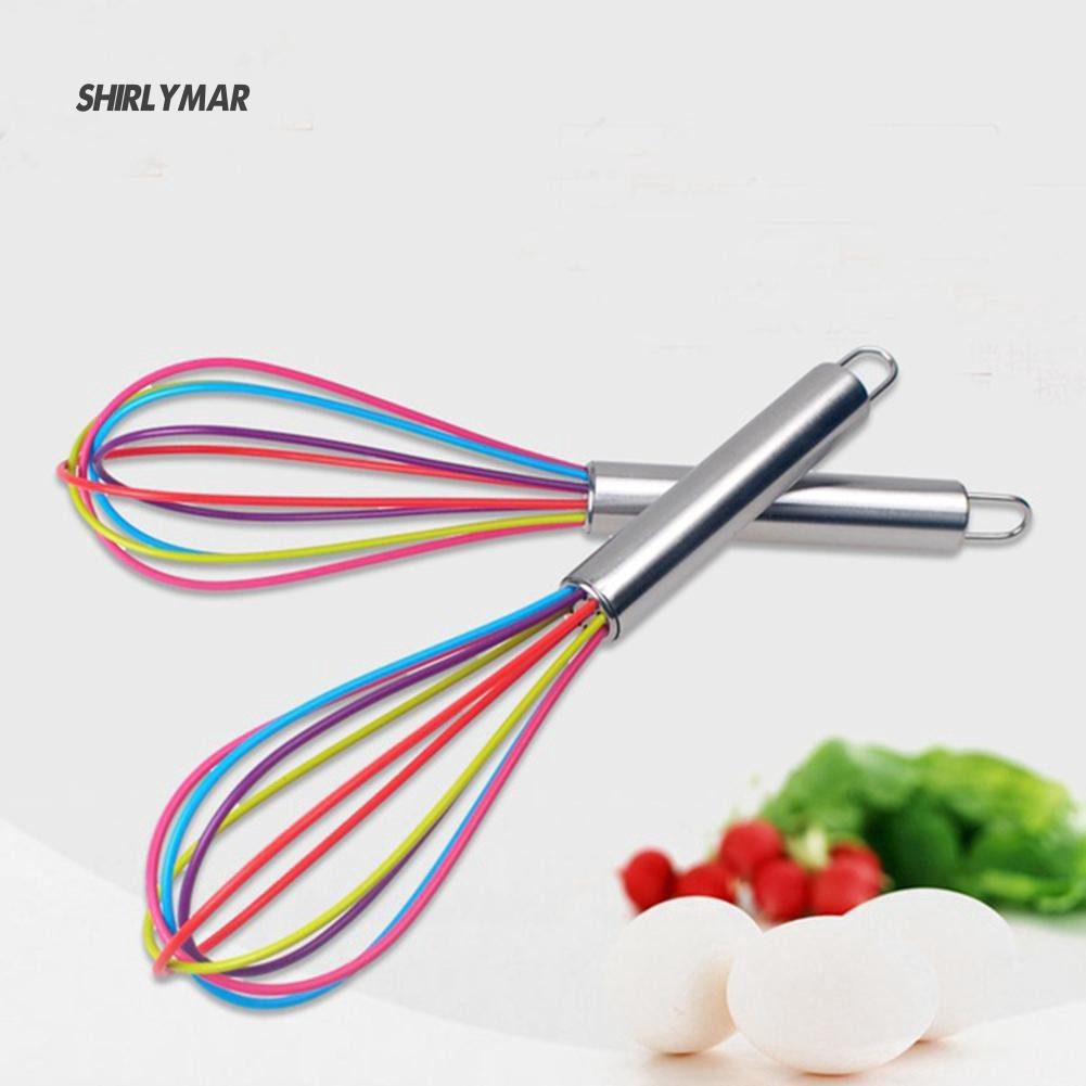 New Handle  Silicone Kitchen Mixer Balloon Wire Egg Beater Tool SUN