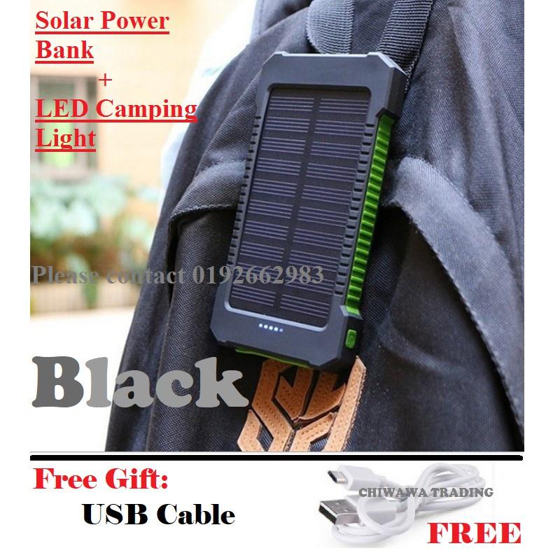 TX17【Free Gift : USB Cable】 30000mAh Solar Power Bank Battery + LED Camping Light