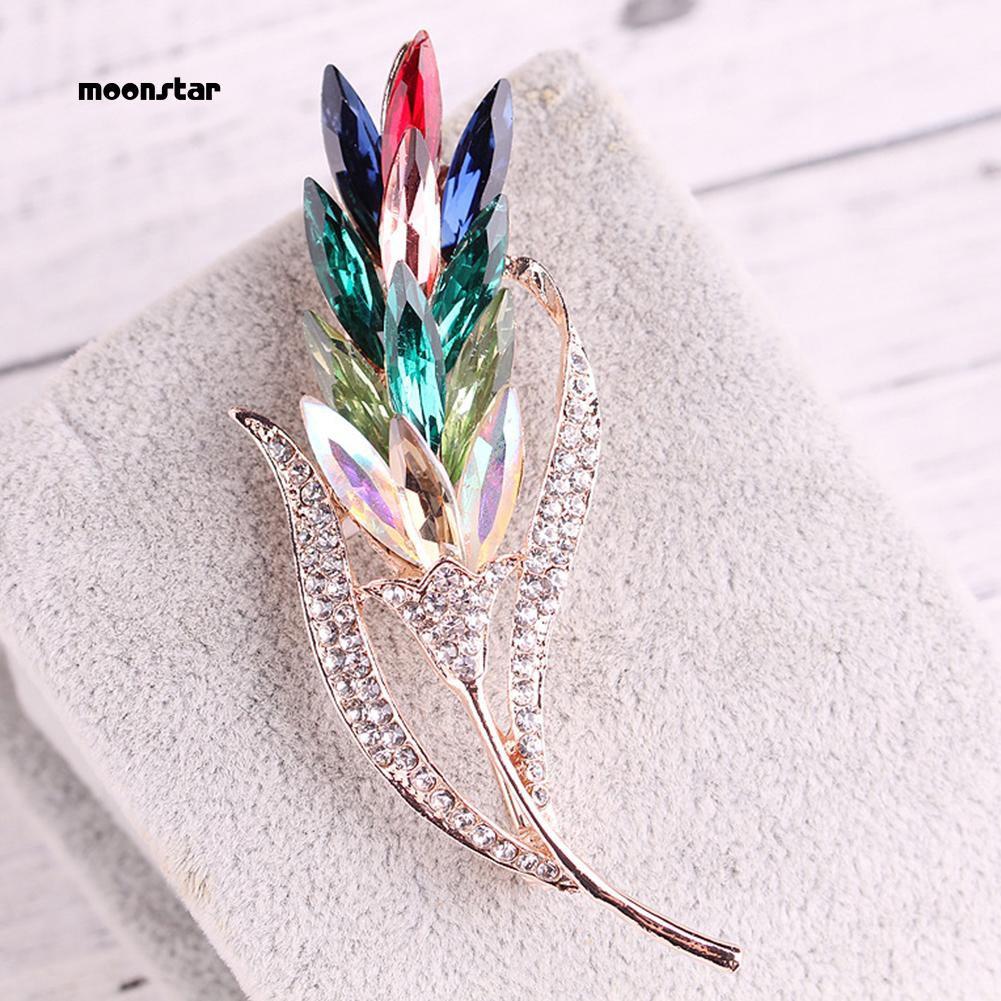 6c3d59d9b Moonstar_Fashion Women Multi Color Glass Wheat Flower Brooch Pin Coat Decor  Jewelry Gift
