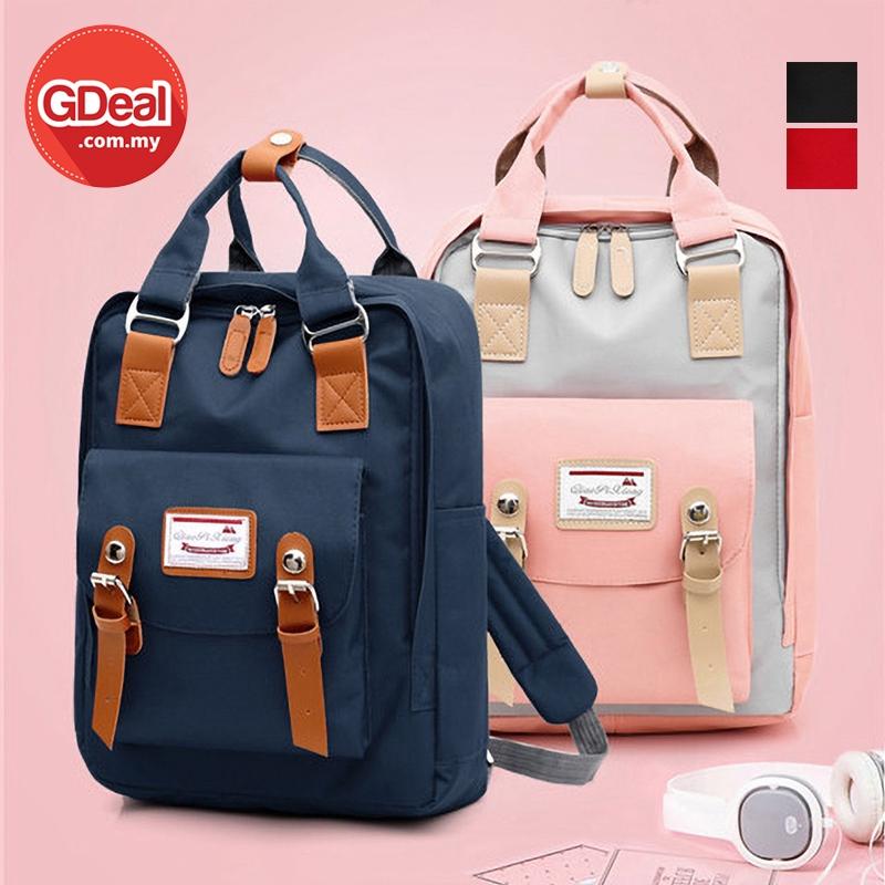 GDeal High School Student College Canvas Backpack USB Charging Travel Leisure Bag Beg Galas بيڬ ڬالاس