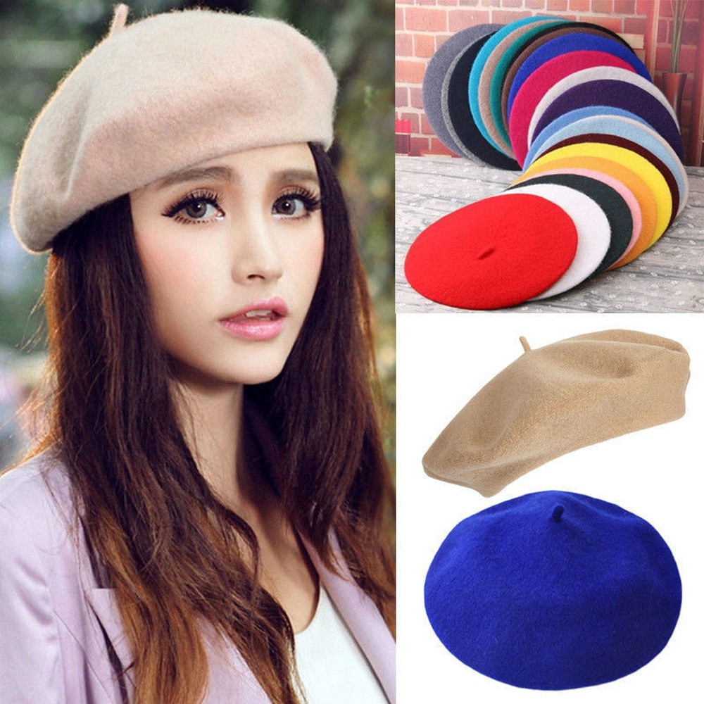 eb26a9879 Women Warm Solid Wool Beret French Artist Beanie Hat Winter Ski Female Cap