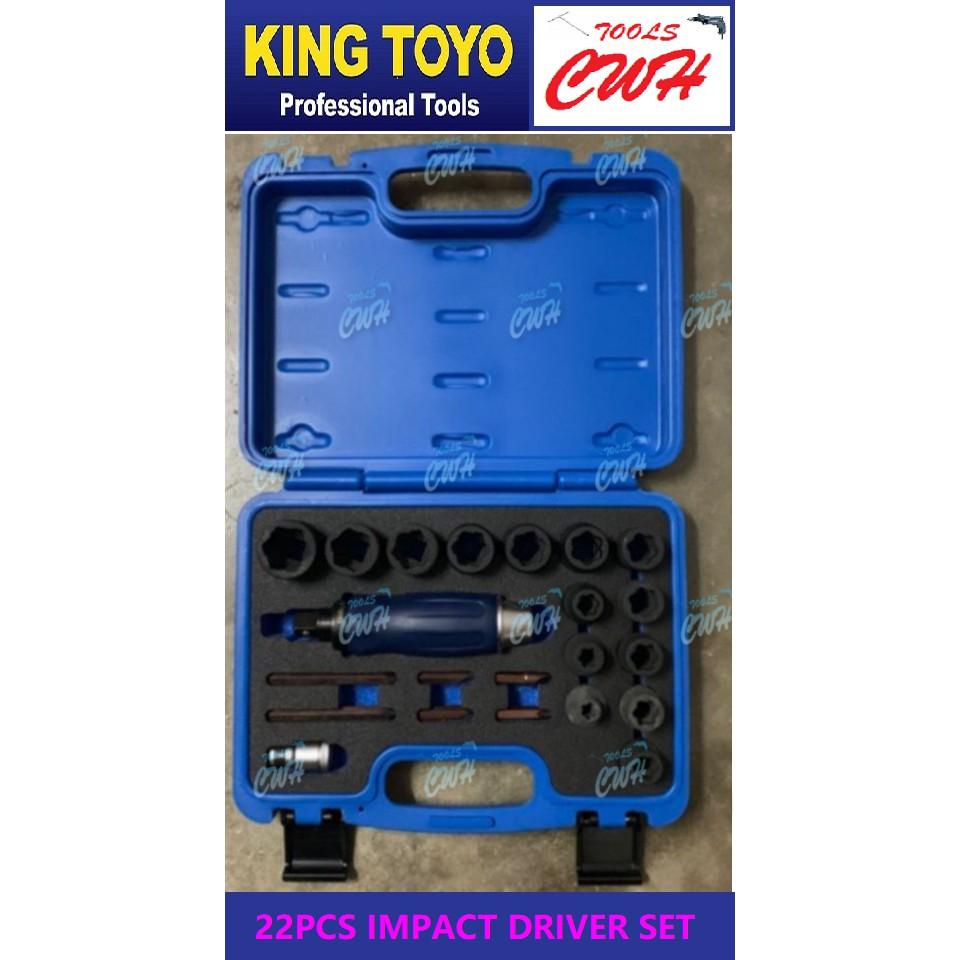 "King Toyo KT-1222BR 22pcs 1/2""Dr. Impact Driver Set------------- -------------------STANLEY SATA BONDHUS TOPTUL SATAGOOD"