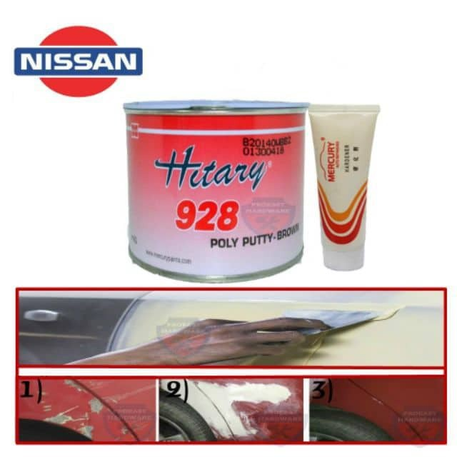 928 POLY car PUTTY (BROWN/GREY) 1KG with HARDENER/Simen kereta Nissan HITARY