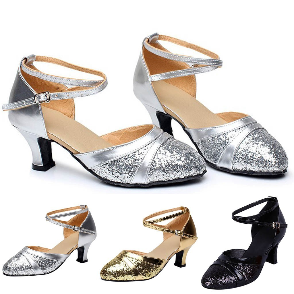 Women/'s Ballroom Tango Latin Salsa Dancing Sequins Shoes Social Dance Shoes