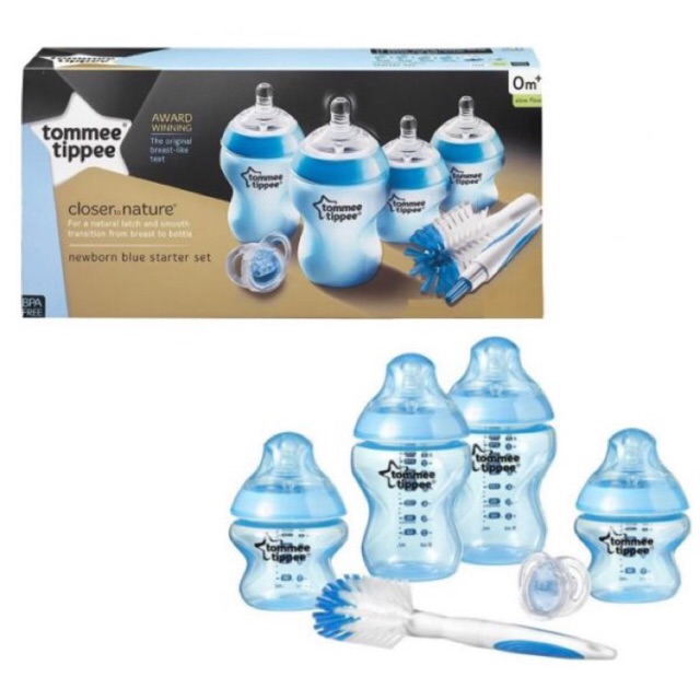 Tommee Tippee Closer To Nature Newborn Baby Bottle Starter Set Anti-Colic Blue