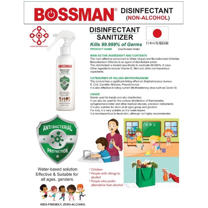 READY STOCK!!! 100ML 300ML BOSSMAN KIDS FRIENDLY NON-ALCOHOL DISINFECTANT SANITIZER HAND SANITIZER KILLS 99.9% OF GEMS
