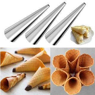 X4 Stainless Steel DIY Baking Cones Spiral Baked Croissants Pastry Roll Cake Acc