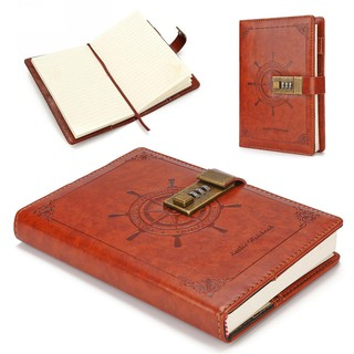 Sheet Rudder Leather Journal Blank Diary Note Book+Password Code