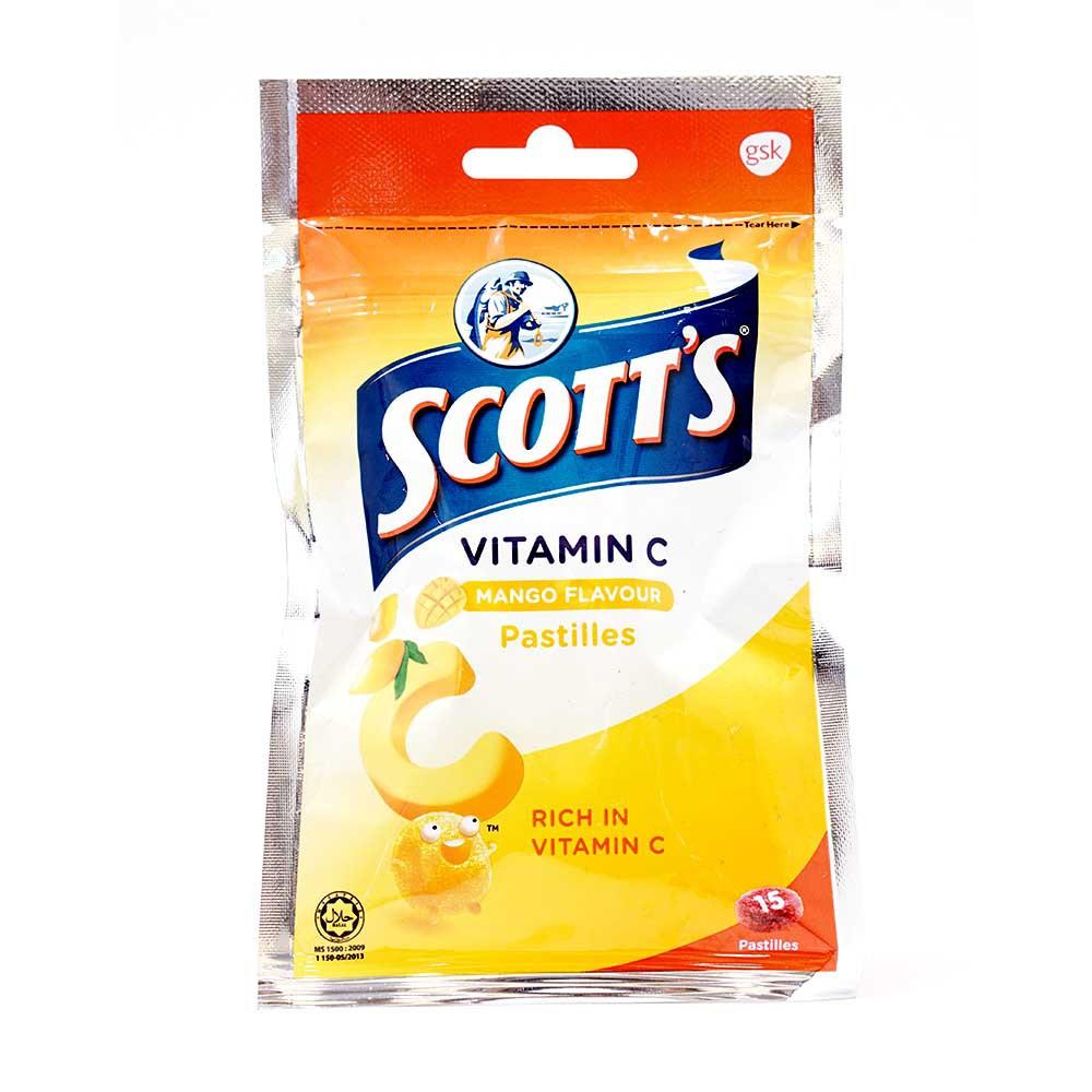 Scott's Vitamin C Pastilles 30g - Mango (15s) Zipper Bag