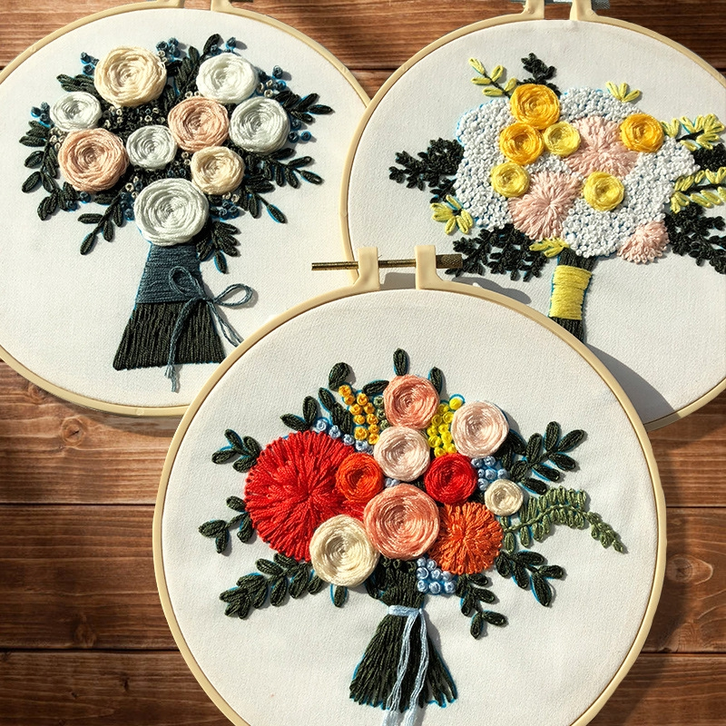 DIY Needlework Cross Stitch Crafts Ribbon Embroidery Kit Flower Painting