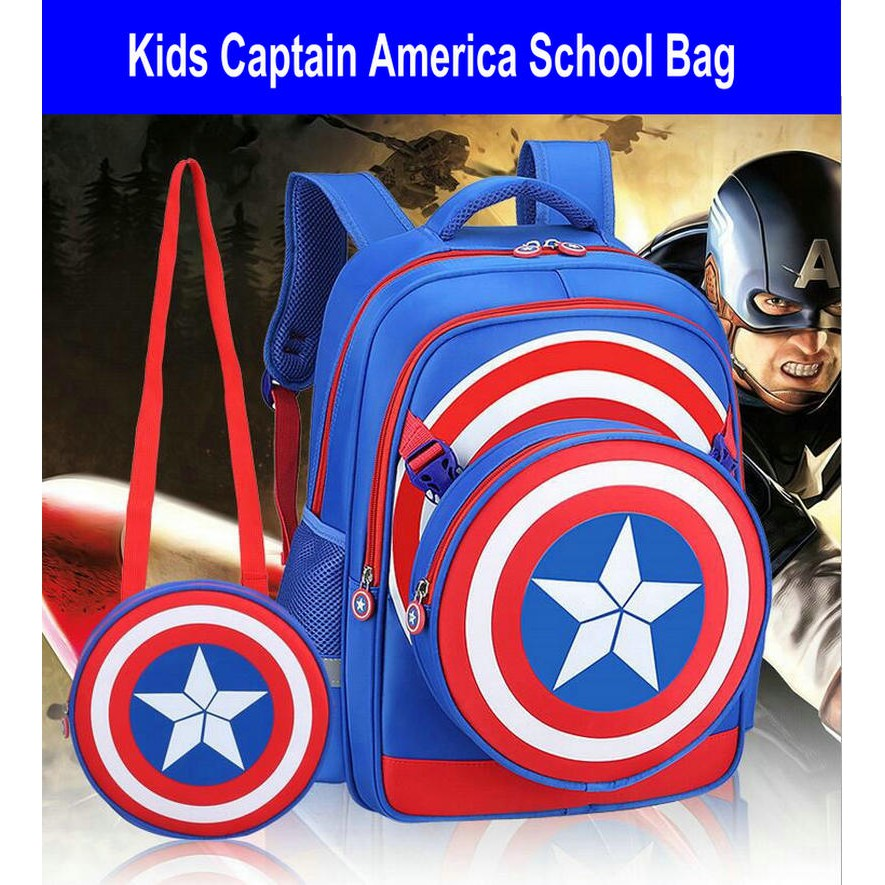 Avengers Kids School Bag Iron Man Captain America Backpack Child Shoulders  Bag  9ac83297000eb