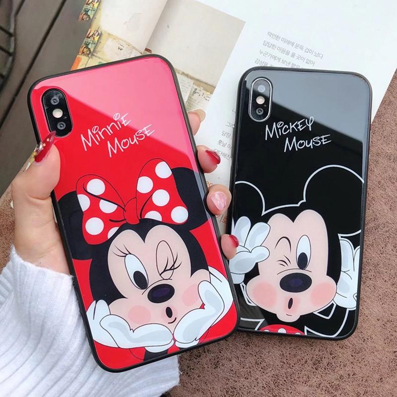 size 40 44d55 959b5 VIVO V15 / Pro V11i V9 Y85 Cartoon Mickey Minnie Tempered Glass Phone Case