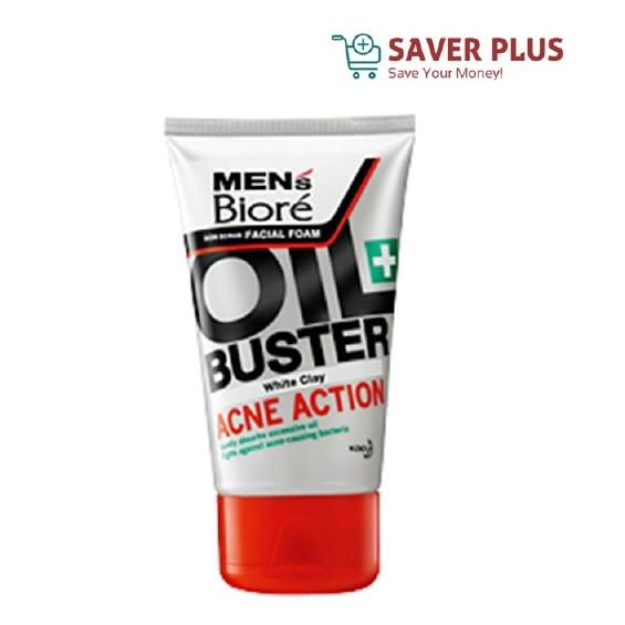 Men\'s Biore Non Scrub Facial Foam Oil Buster Acne Action 100g