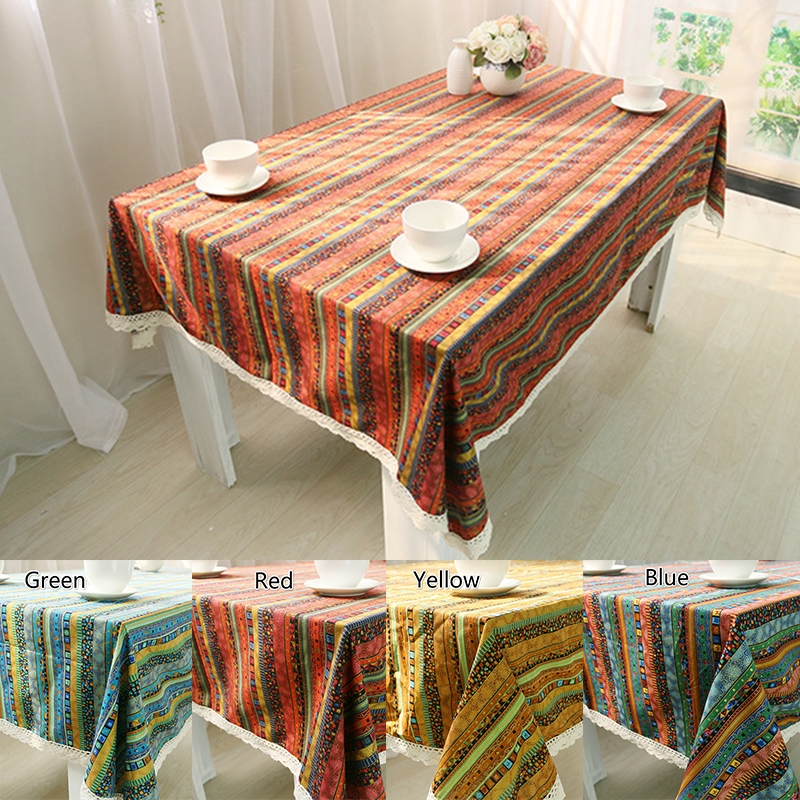 Rectangle//Square Table Cover Cotton Cloth Linen Tablecloth Decor Bohemian Style