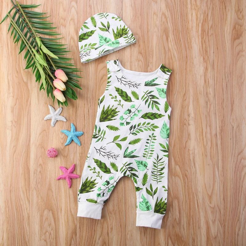 4007879090c66 Newborn Baby Kids Boys Girls Romper Jumpsuit Bodysuit+Hat Cotton Clothes  Outfits