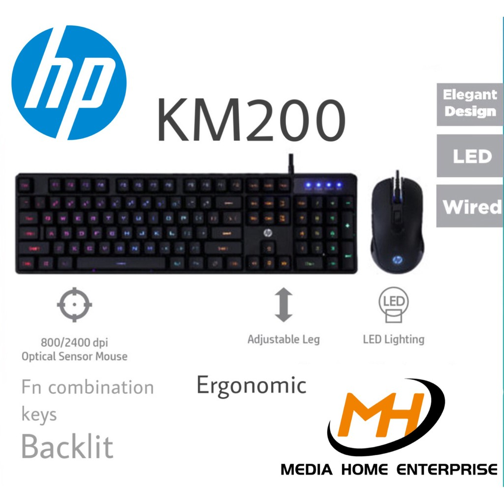 HP Gaming Wired Keyboard and Mouse Combo KM200 - Ergonomic, Backlit
