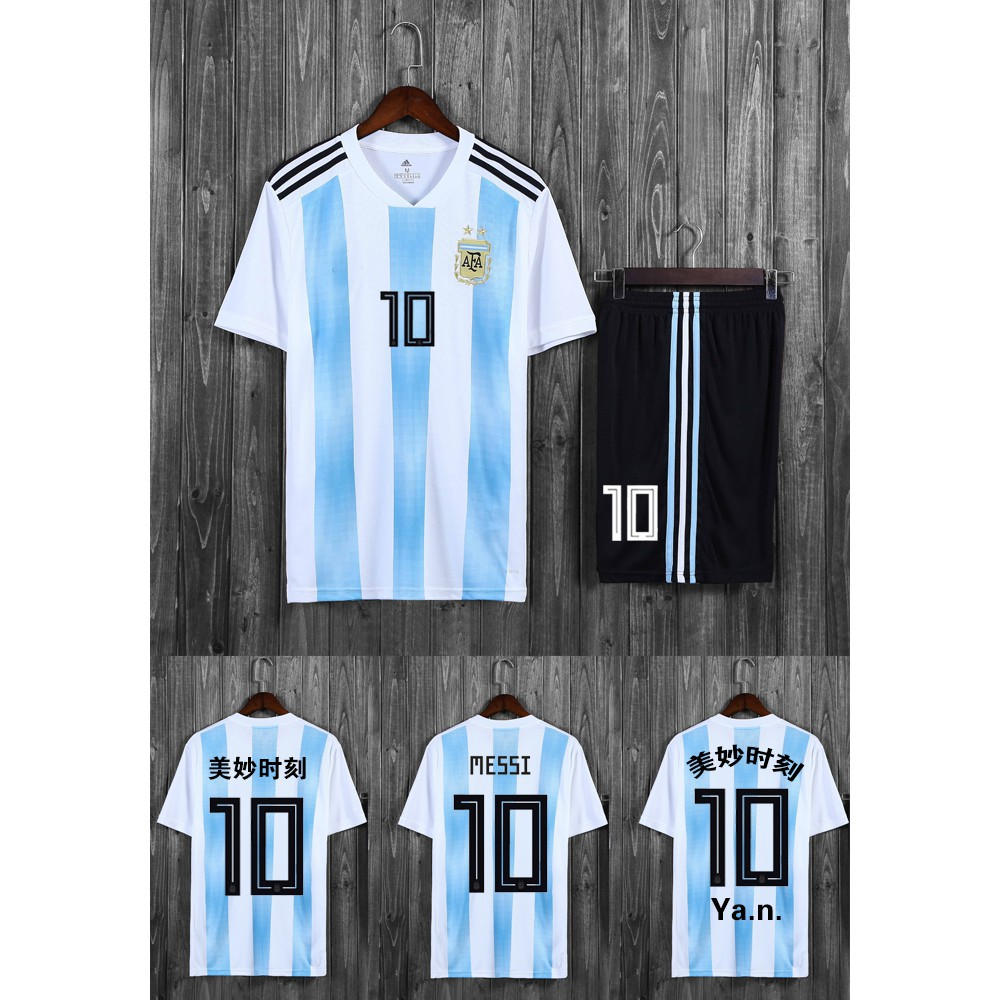 san francisco c50d3 ee37c TOP QUALITY 2018 World Cup Argentina National Team Messi Jersey Soccer  suit+pants