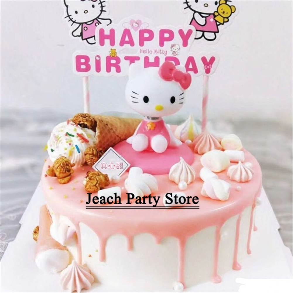 Pleasing Hello Kitty Birthday Cupcake Toppers Cake Toys For Girls Children Funny Birthday Cards Online Alyptdamsfinfo
